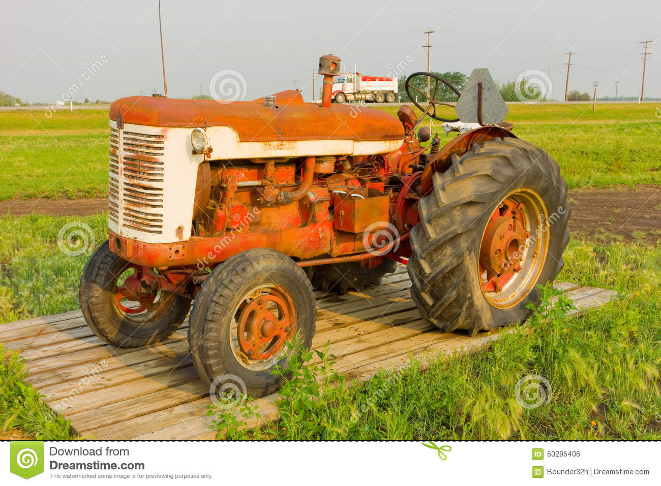 Antique Tractors Equipment : An antique tractor at agricultural museum in