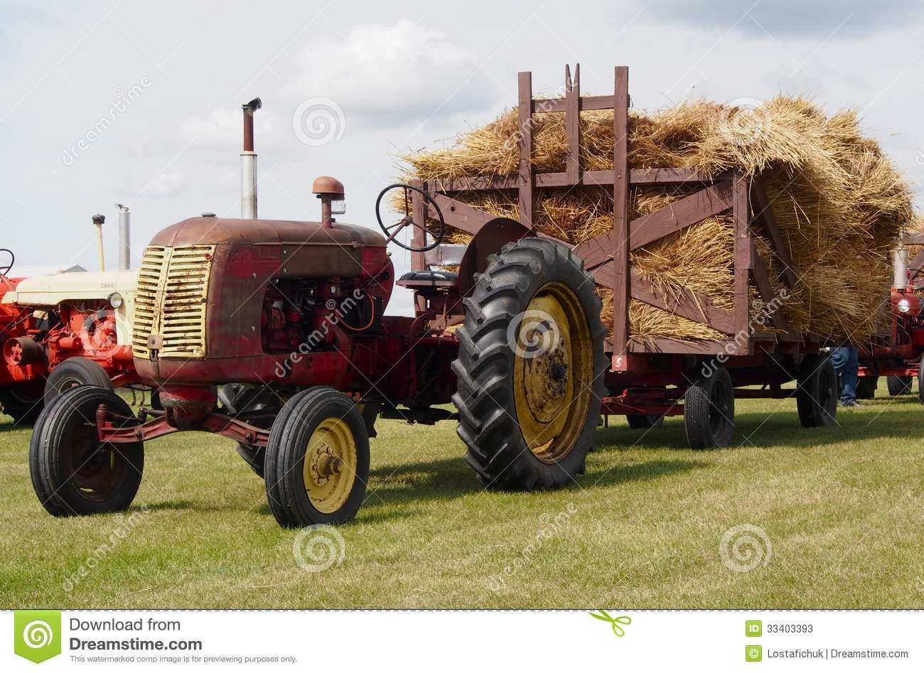 Antique Tractor With Hay Wagon Loaded With Hay Editorial Stock ...