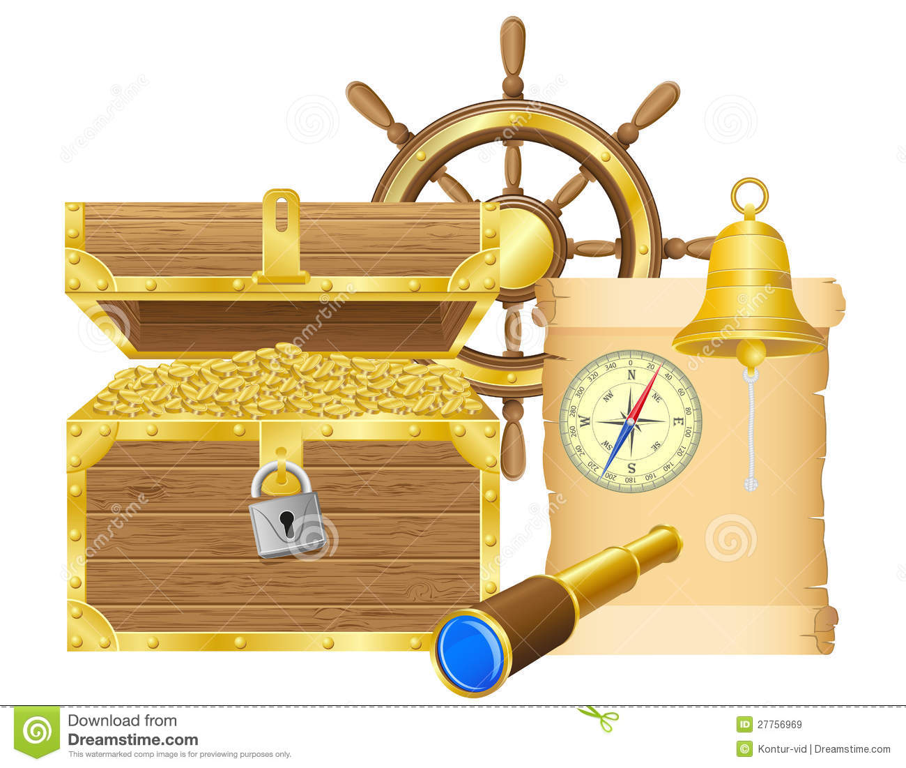Antique Treasure Chest Vector Illustration Royalty Free Stock Images ...