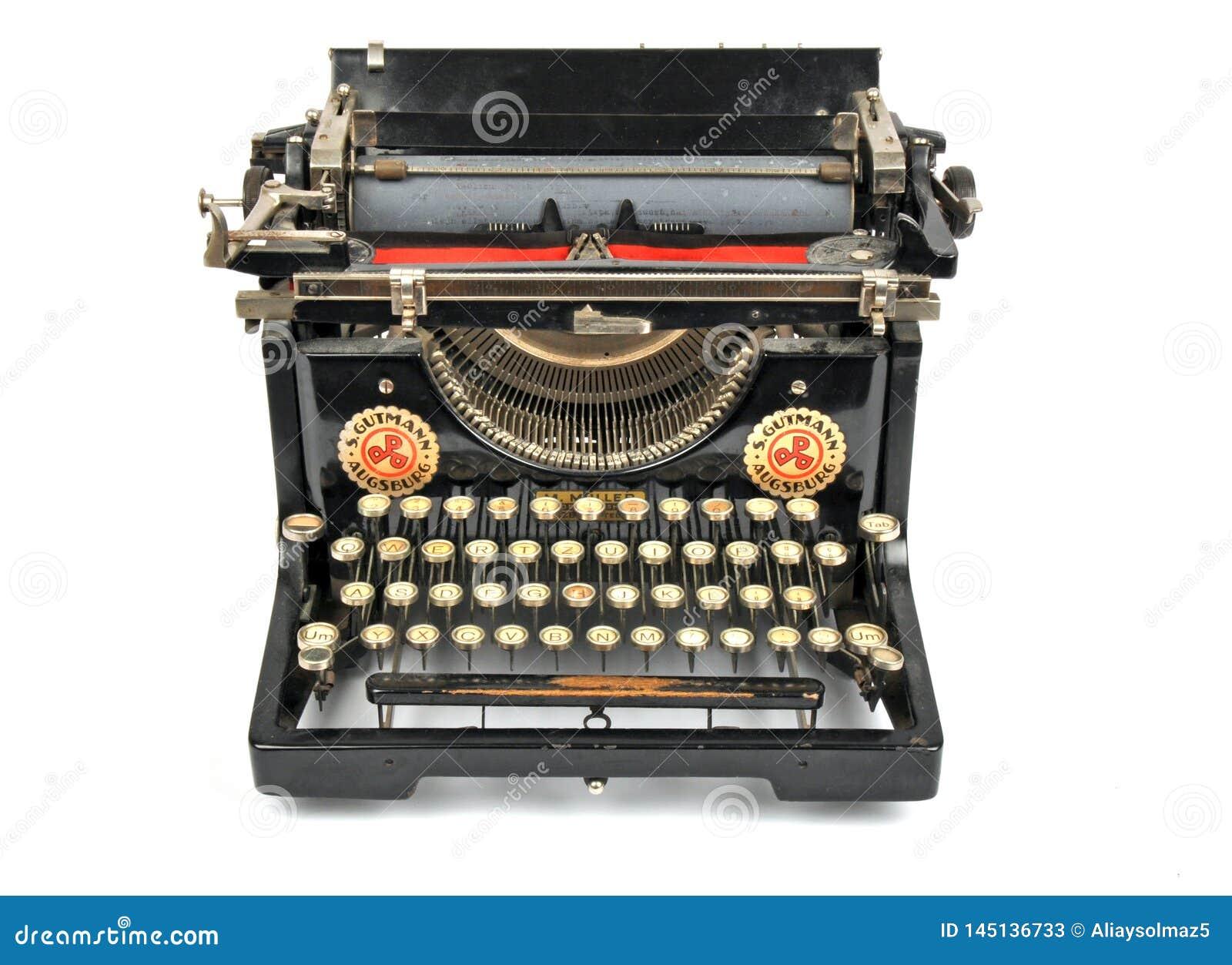 Antique Typewriter, Isolated Object, Isolated Antique Typewriter