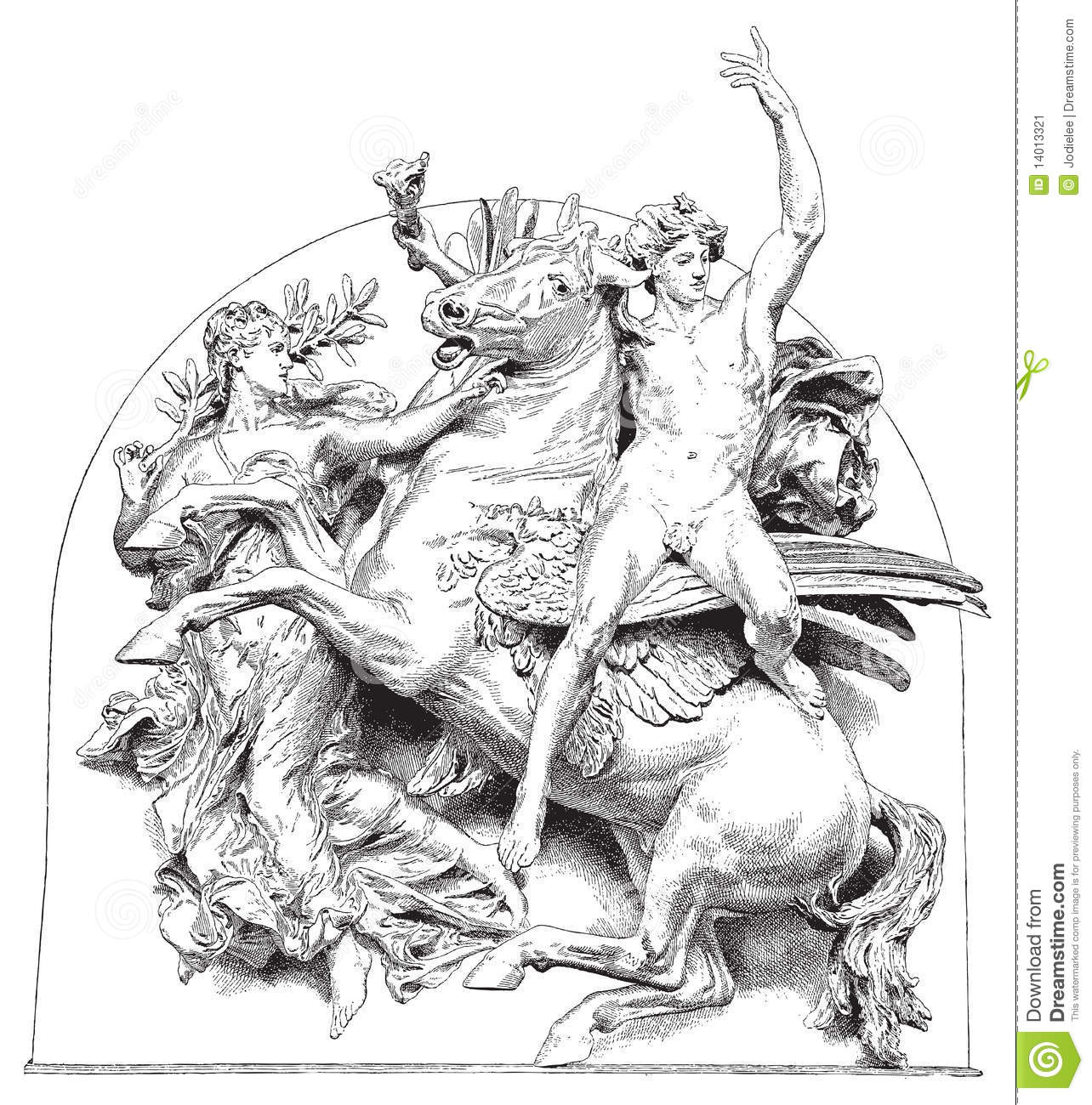 Antique Vector Illustration Horse With Rider Stock Image