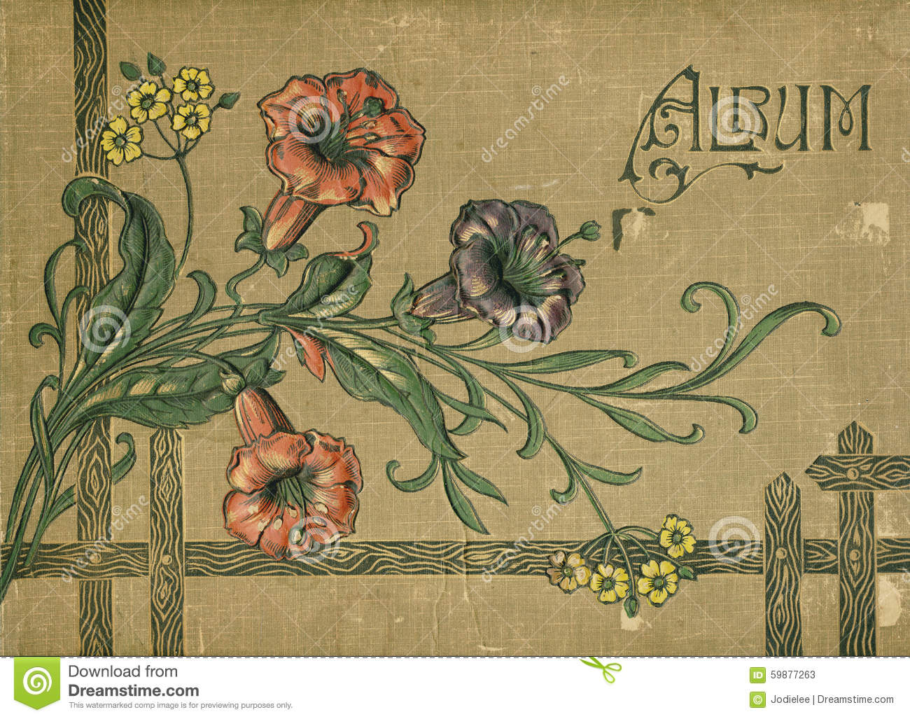 Vintage Flower Book Cover : Antique victorian scrapbook album book cover stock image