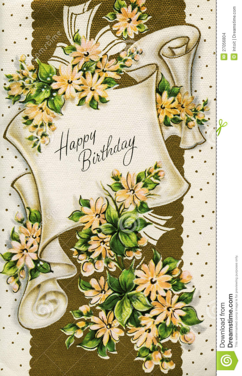 antique vintage birthday card stock images  image, Birthday card