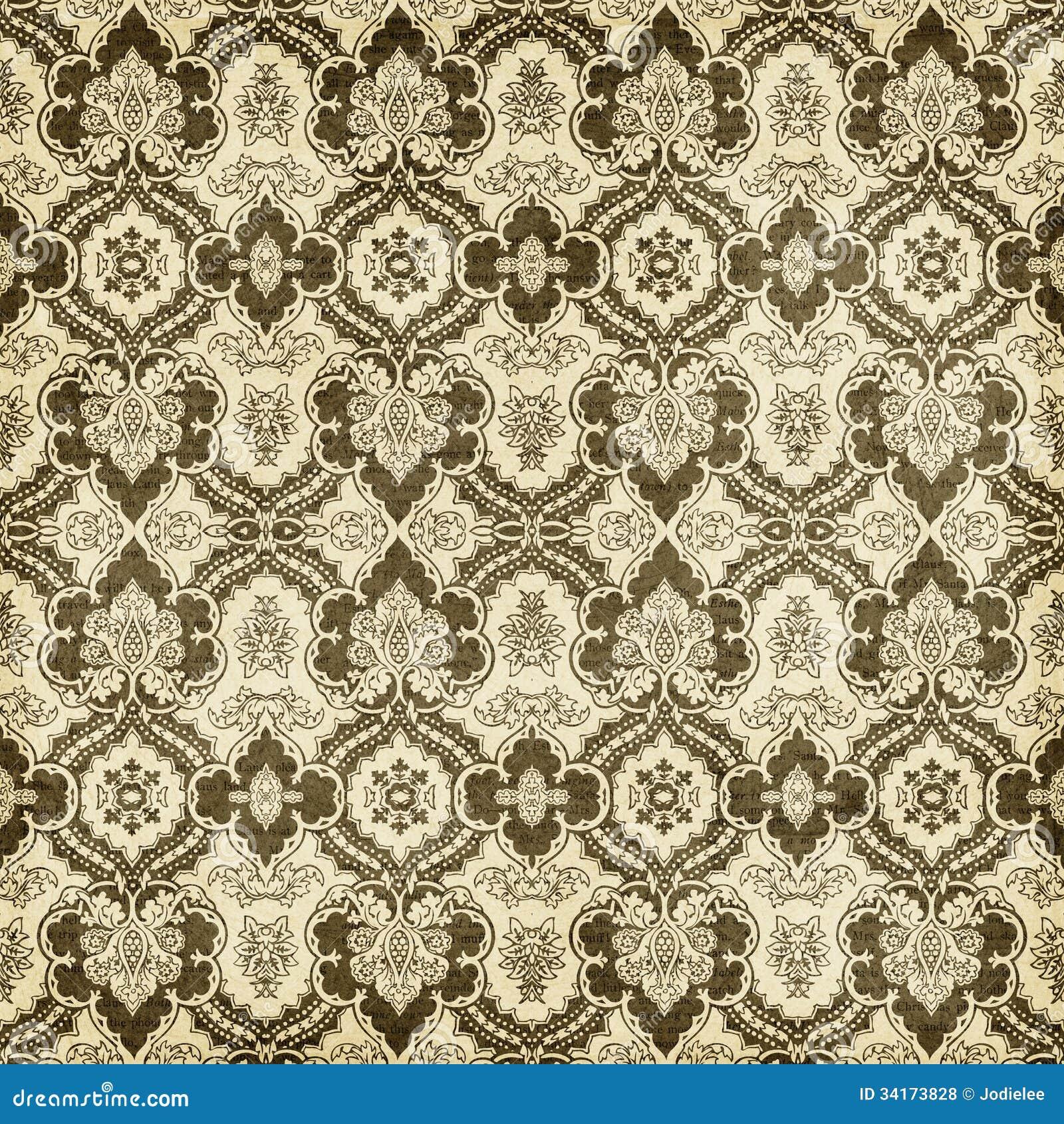Antique vintage damask style pattern christmas wallpaper - Papel pintado vintage ...
