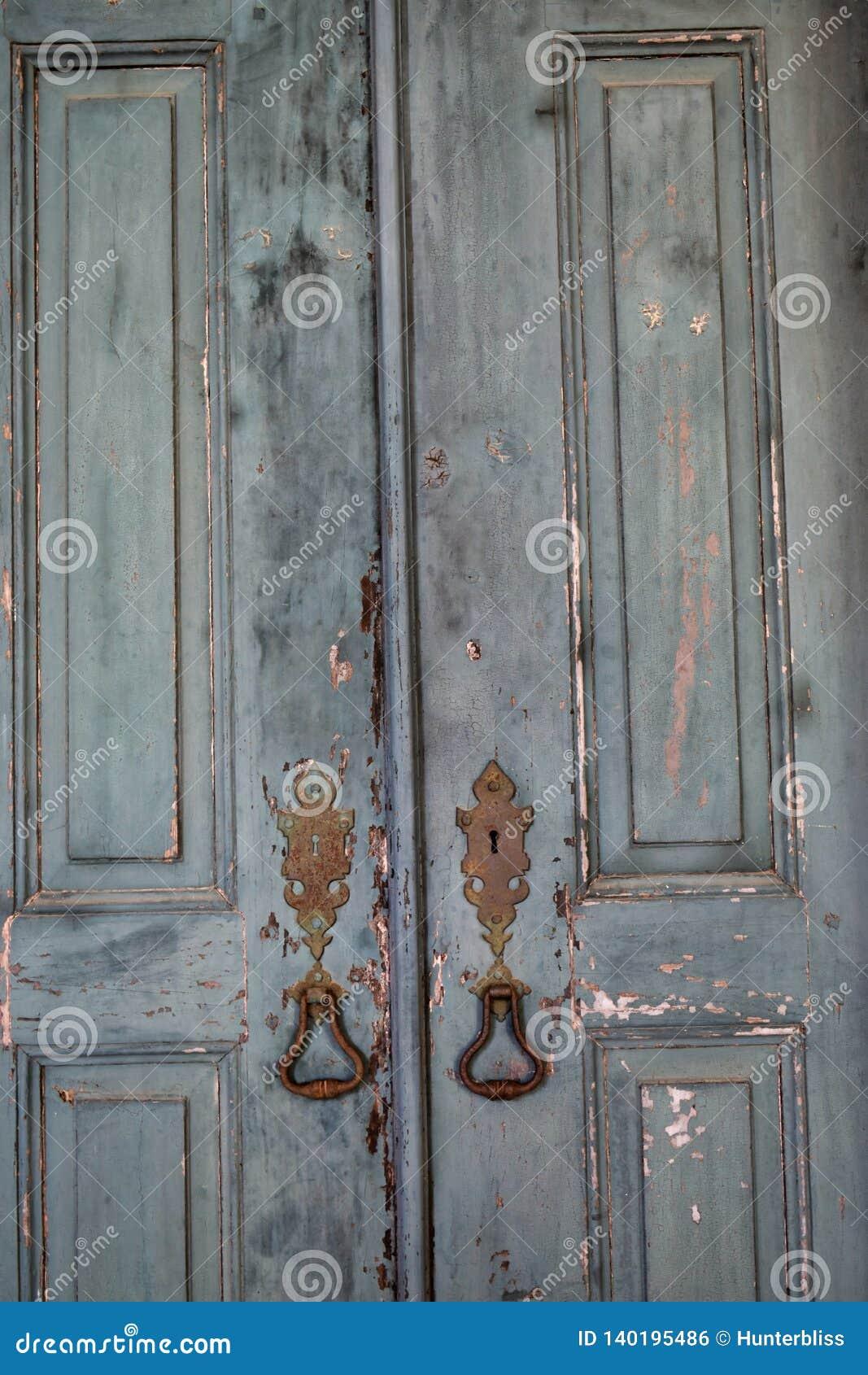 Antique Vintage Doors Ruined Withered Worn Handles Closeup Textures
