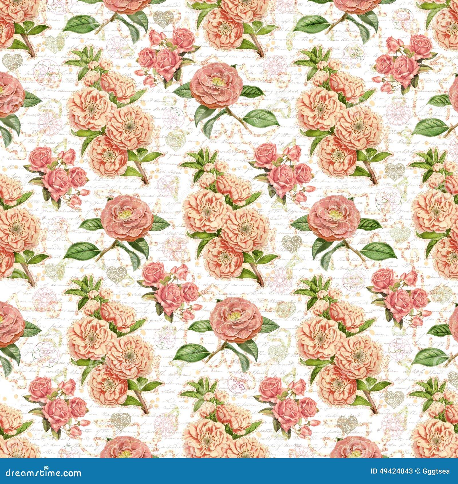 Antique Vintage Floral Wallpaper Background