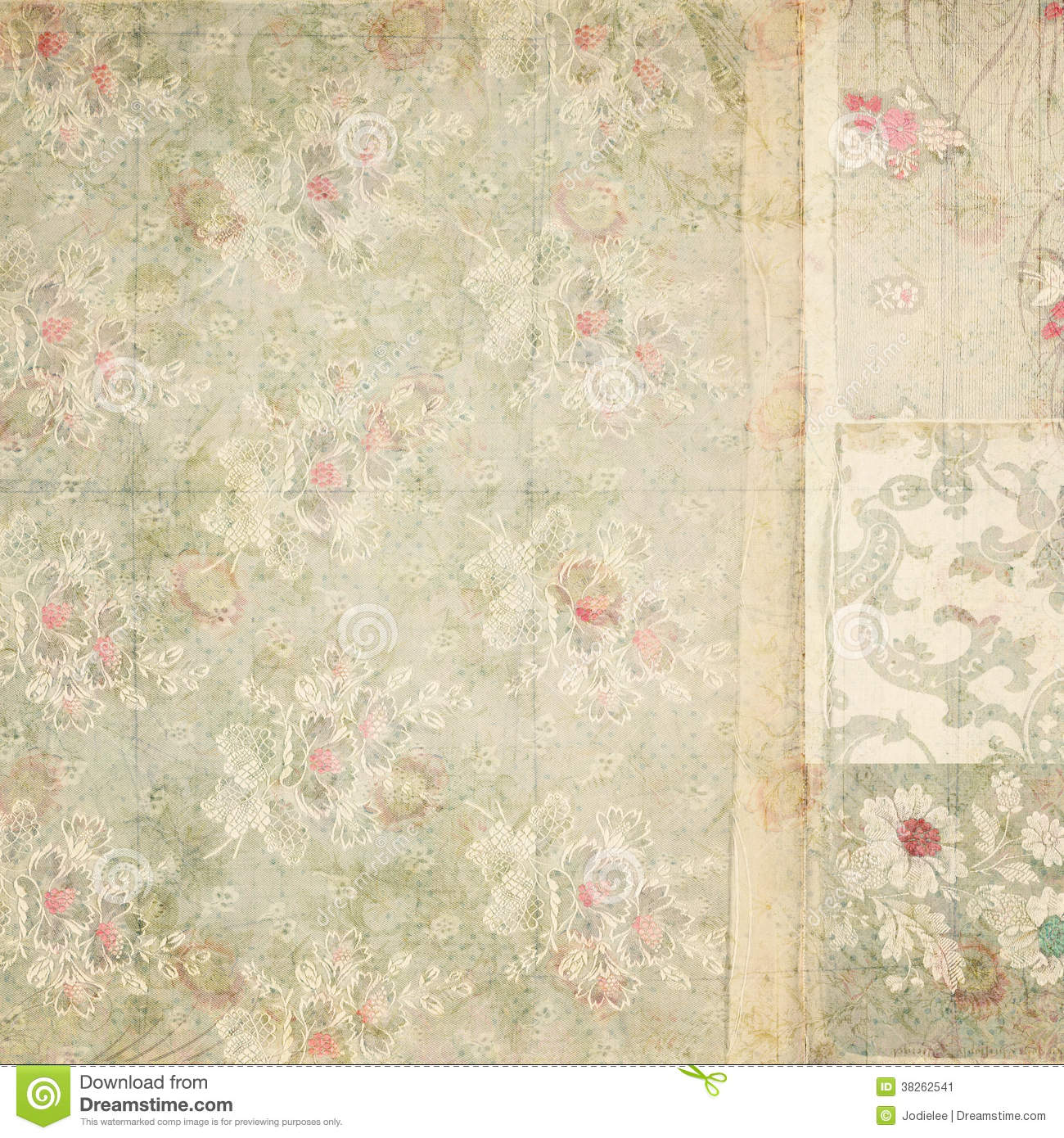 Patchwork of grungy textured antique vintage floral wallpaper collage ...