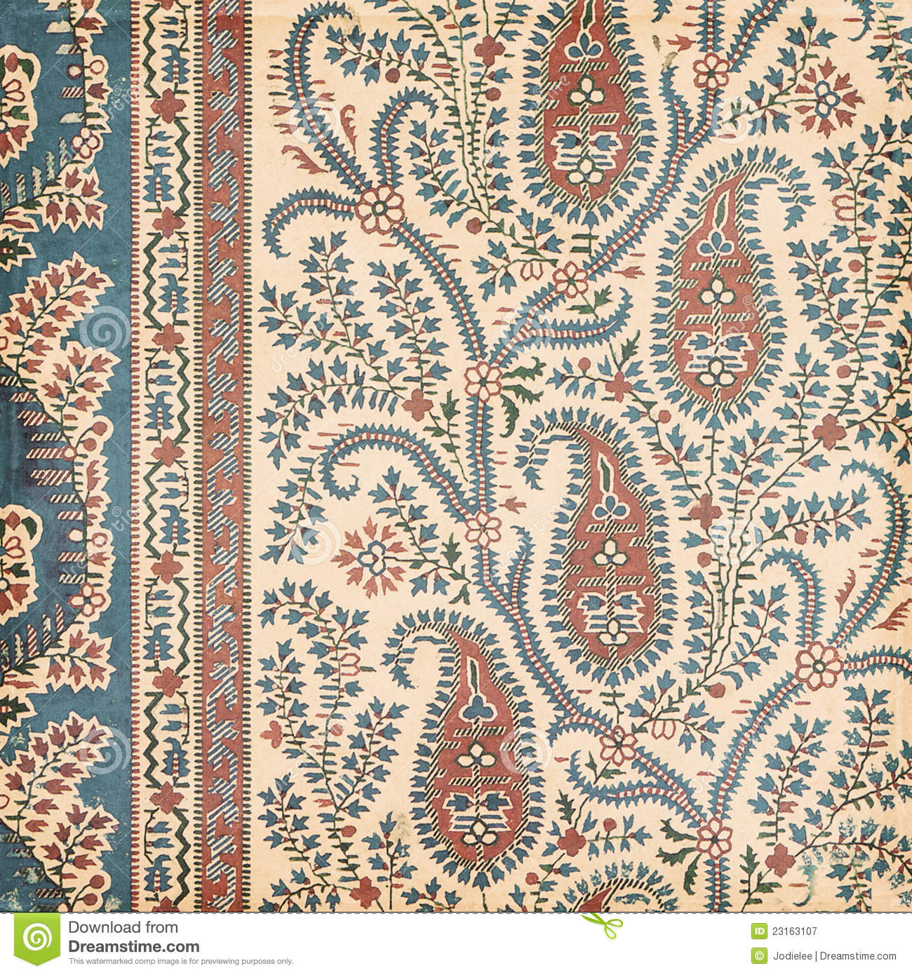 Antique Vintage Paisley Indian Background Royalty Free