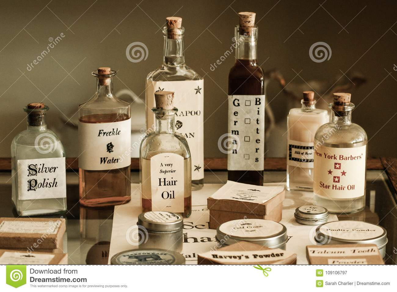 Old Fashioned Pharmacy Remedies And Products Stock Image Image Of