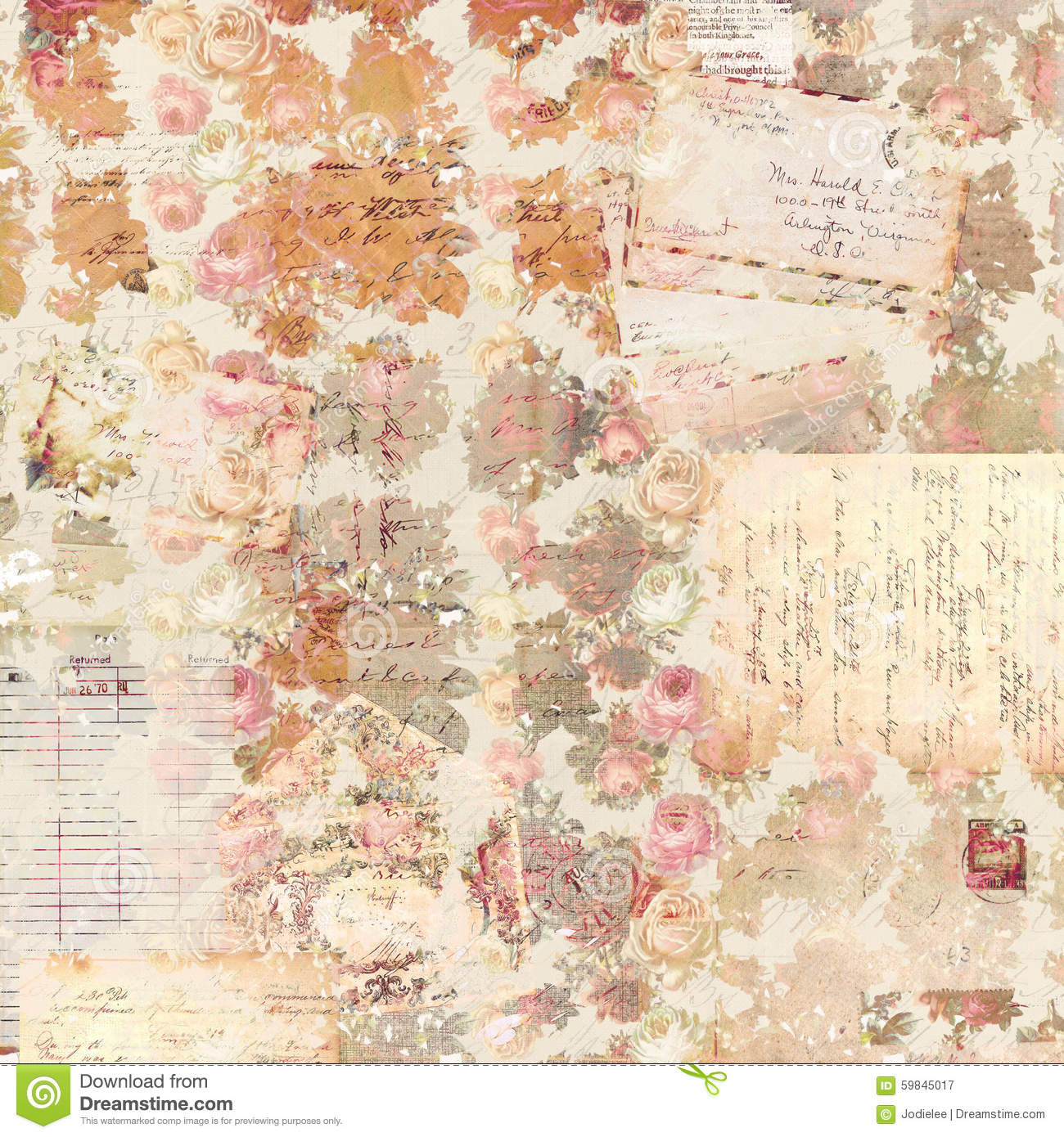 Antique Vintage Roses Patterned Background In Rustic Fall Colors Christmas