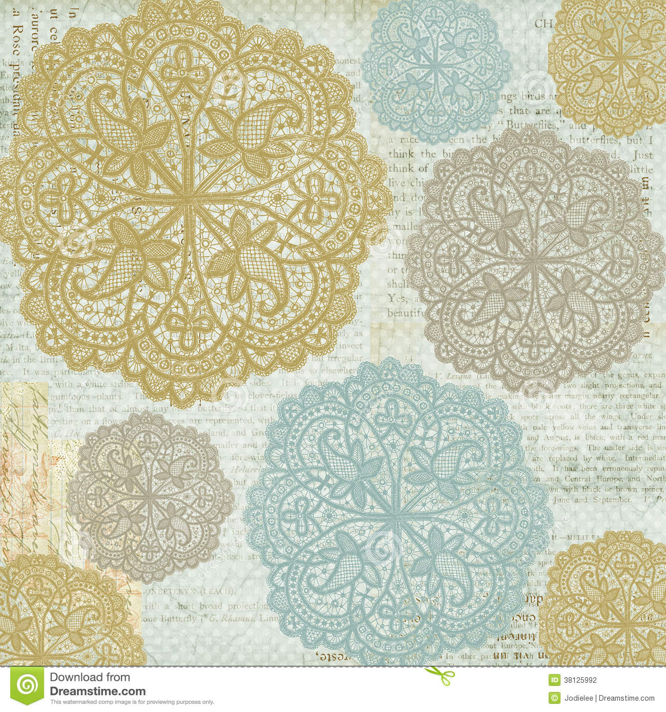 Antique Vintage shabby chic style lace patterned background