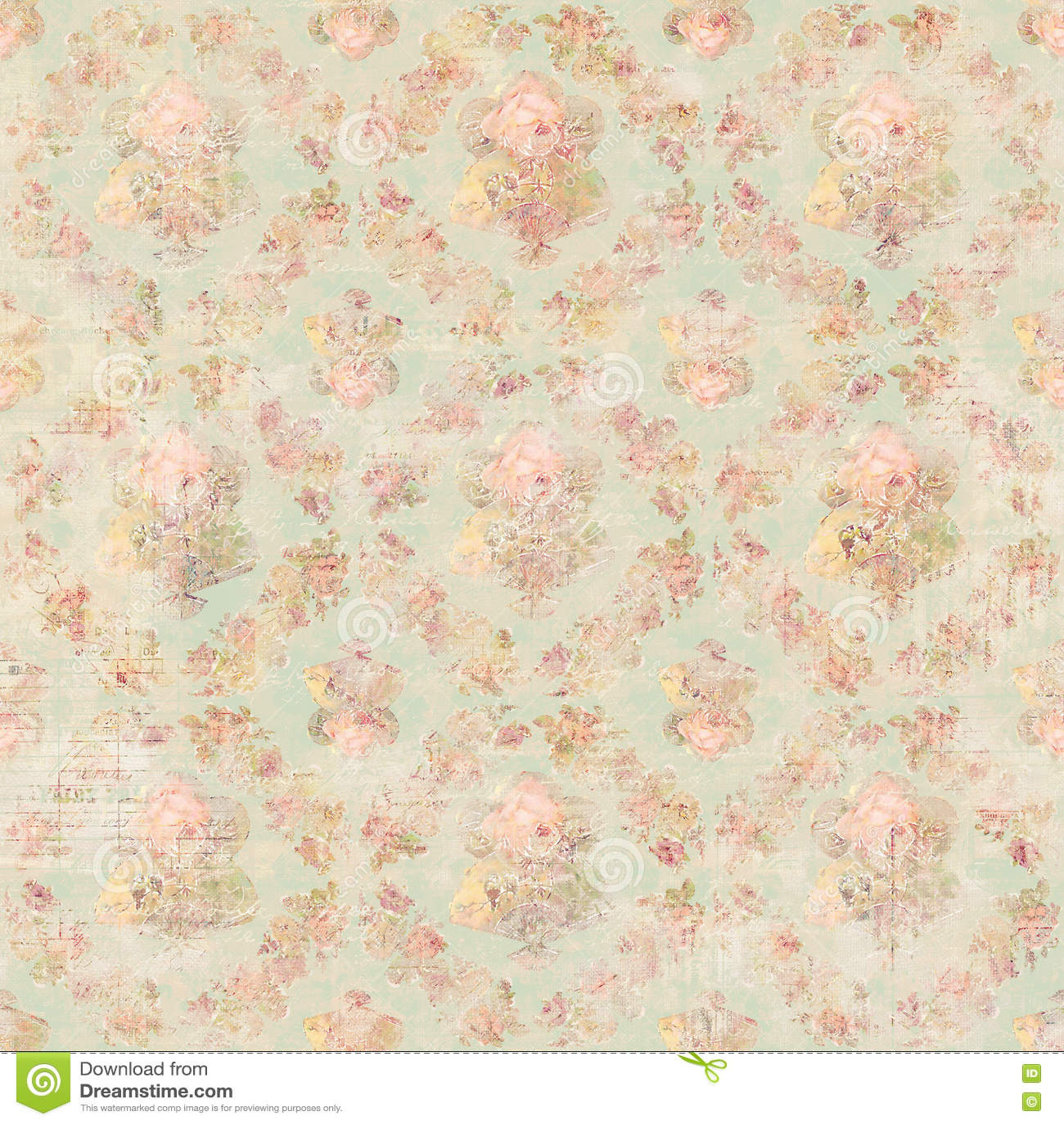 Antique Vintage style botanical pink floral roses background