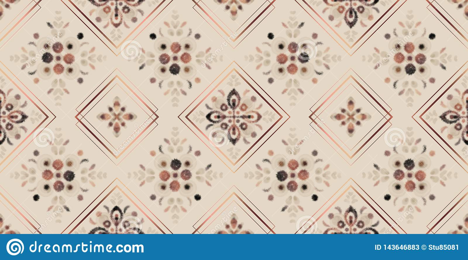 Earth tones seamless pattern, digital watercolor floral mosaic with rose gold square frames