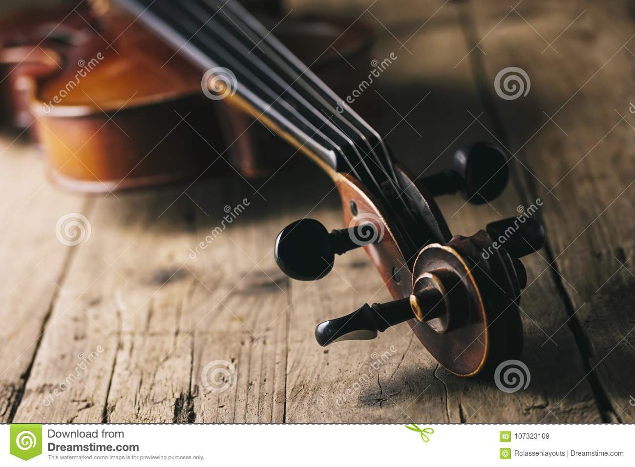 Antique Violin On A Wooden Floor Stock Image Image Of Play