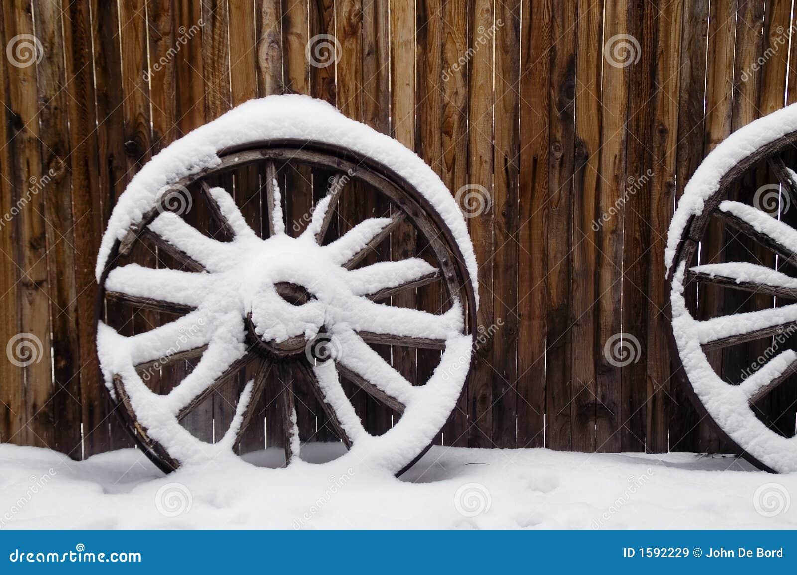 Antique Wagon Wheels in Snow
