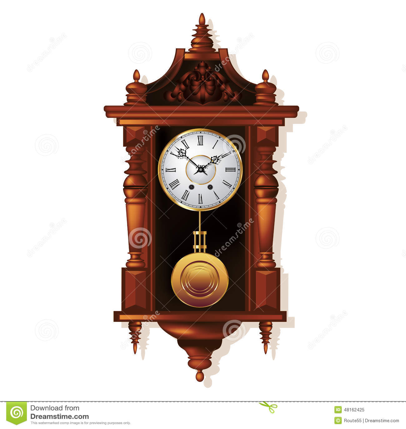 Antique wall clock stock vector image 48162425 - Relojes grandes de pared vintage ...