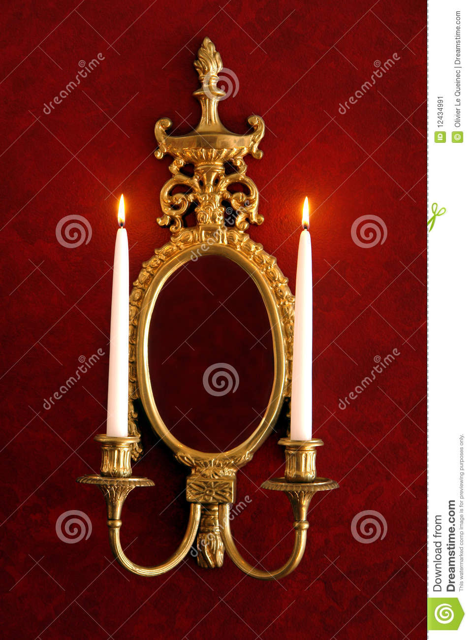 Antique Wall Mirror Sconce With Burning Candles Stock