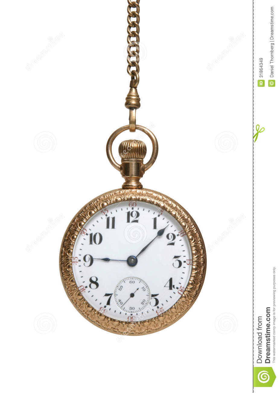 Antique Watch And Chain Isolated On White Royalty Free ...