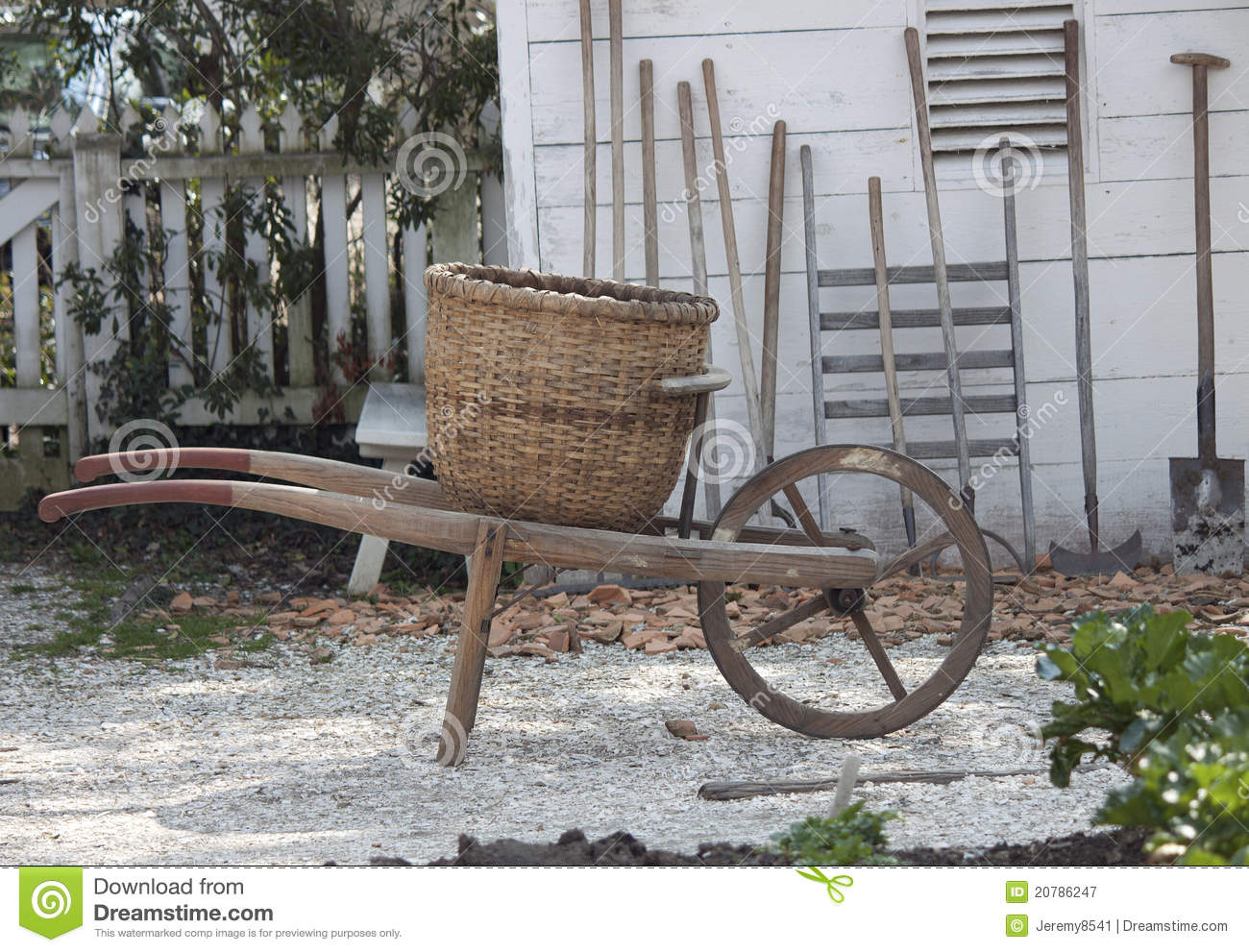 Antique Wheelbarrow Stock Image Image Of Rustic