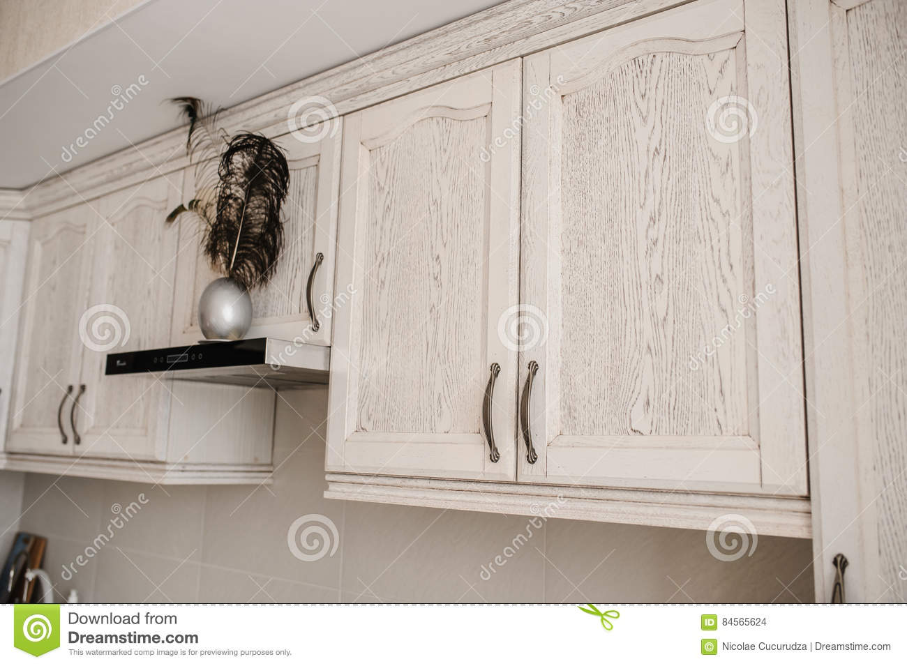 Antique White Painted Cupboard Closet, Old Hand Made Furniture In Wood With  Drawers And Doors