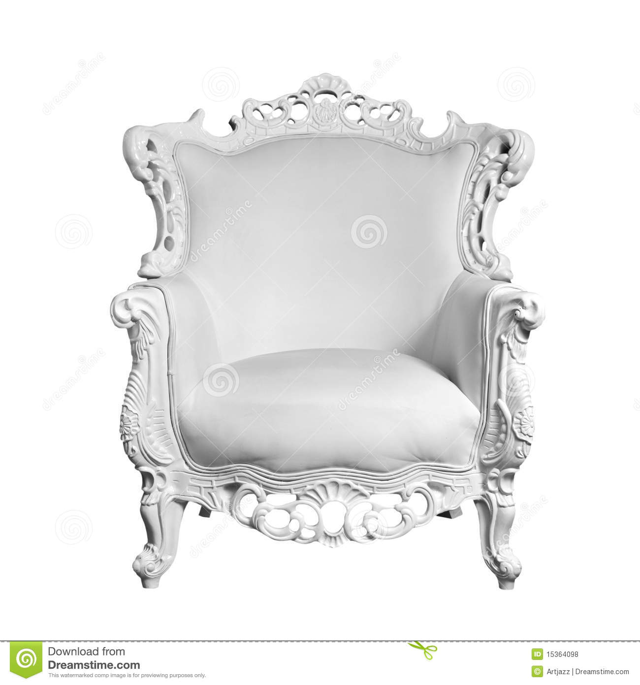 Antique White Leather Chair Stock Photo Image 15364098