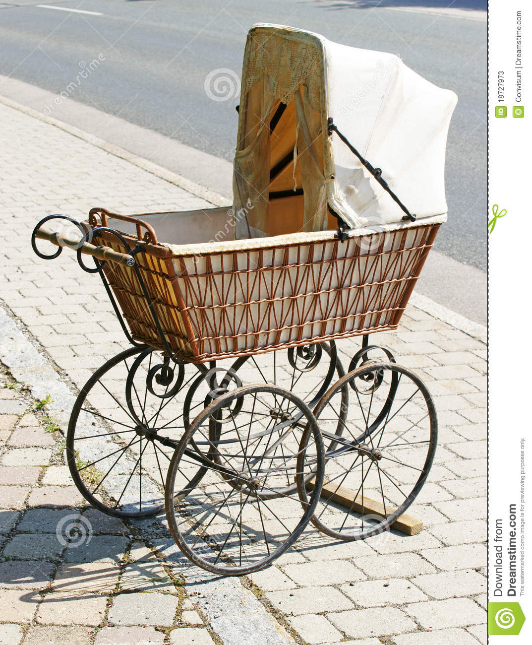 Antique Wicker Baby Carriage Stock Image Image Of Wicker Perambulator 18727973