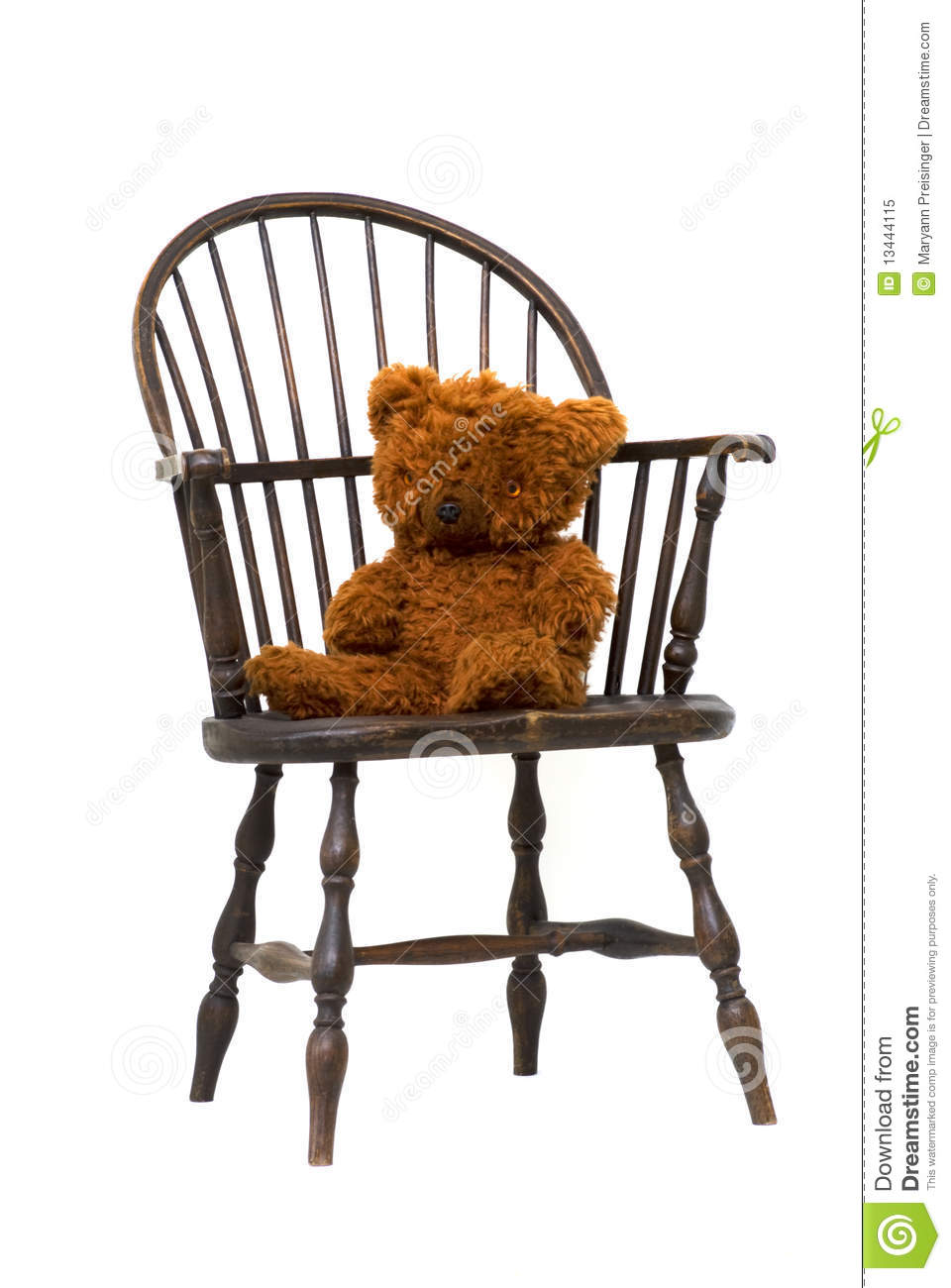 antique windsor chair with teddy bear isolated stock image image of bear antique 13444115. Black Bedroom Furniture Sets. Home Design Ideas