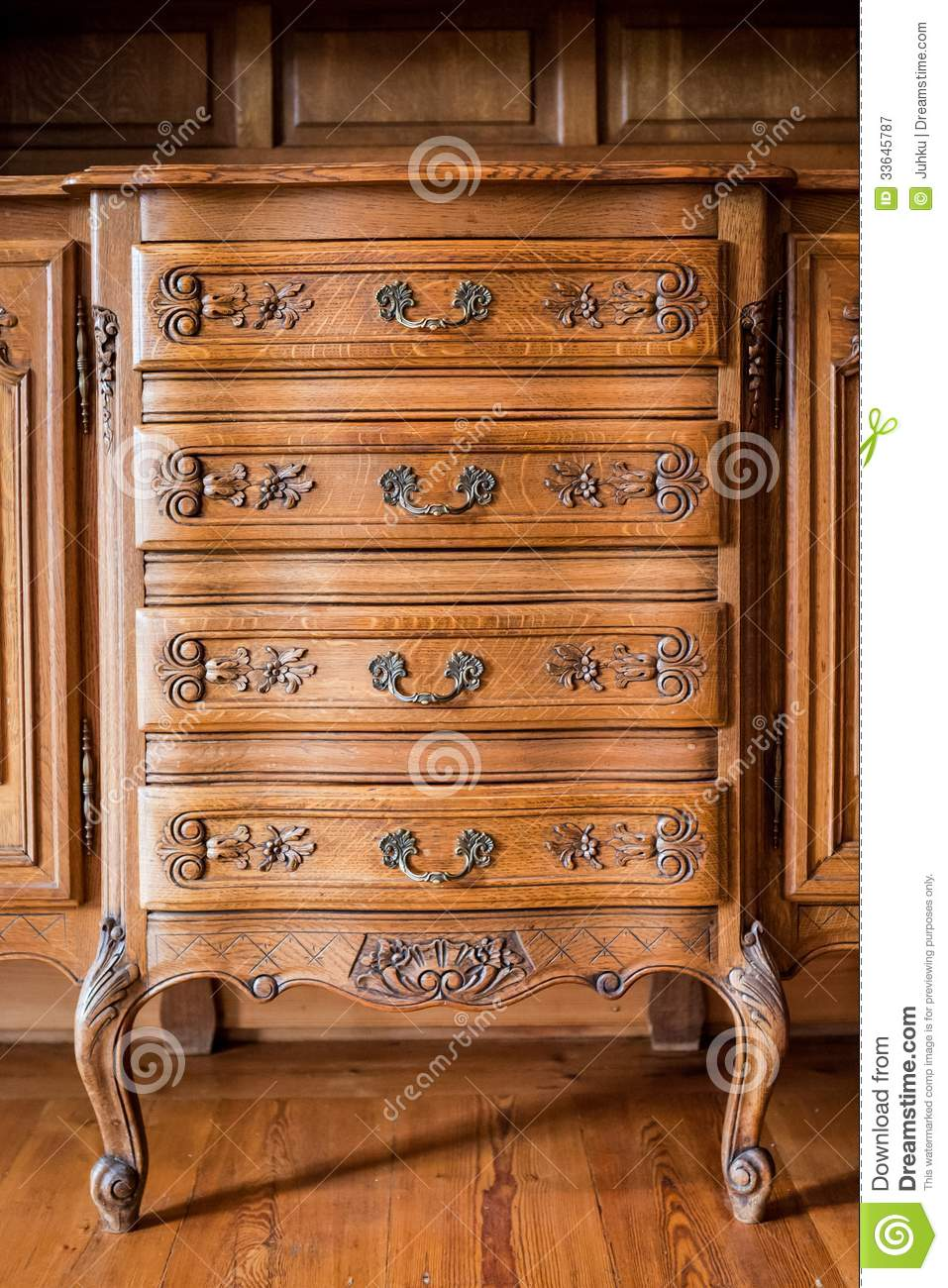 Antique Wood Carved Chest Of Drawers Stock Image Image