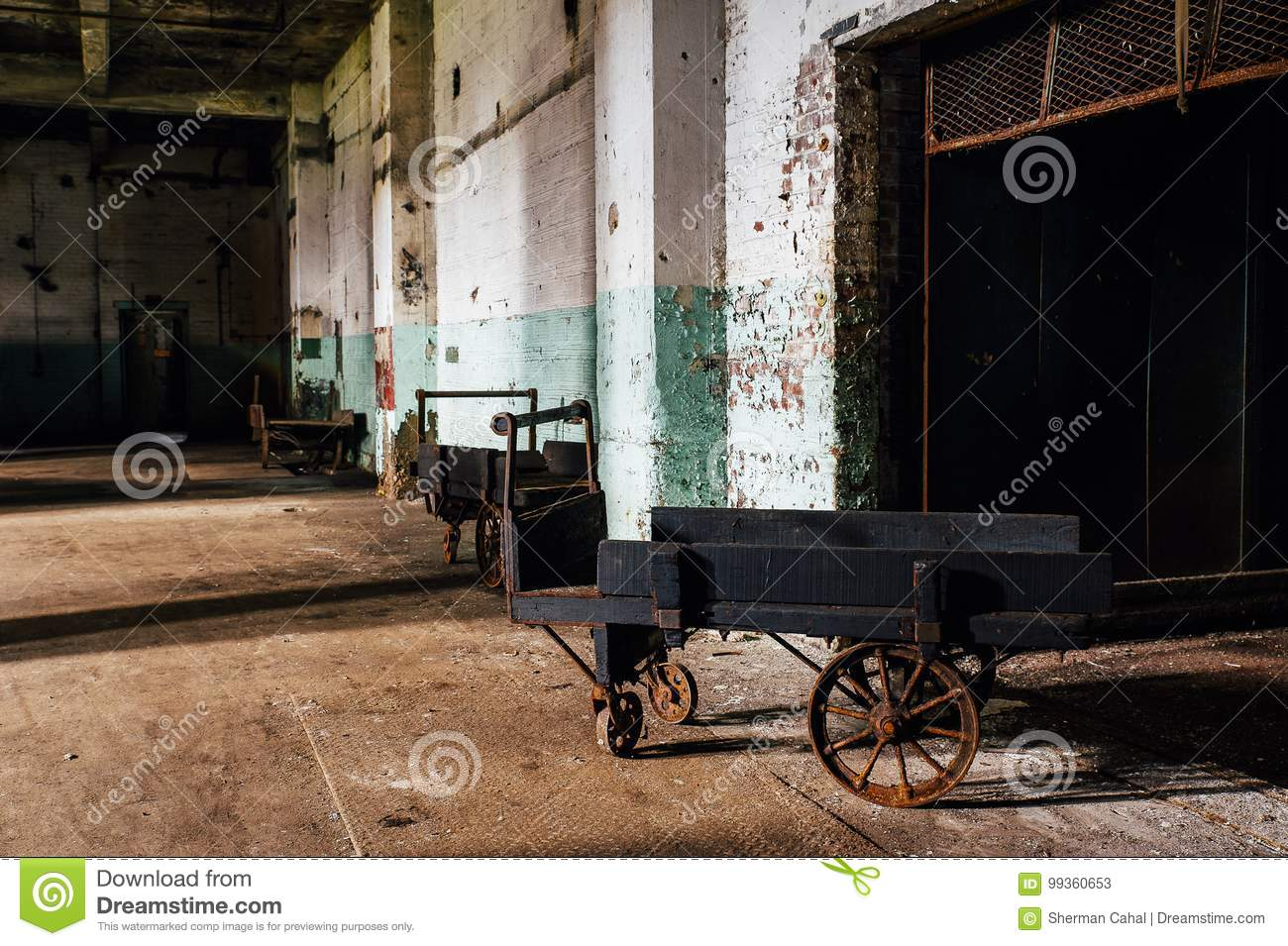 Antique Wood Hand Cart with Cast Iron Wheels - Abandoned Glass Factory