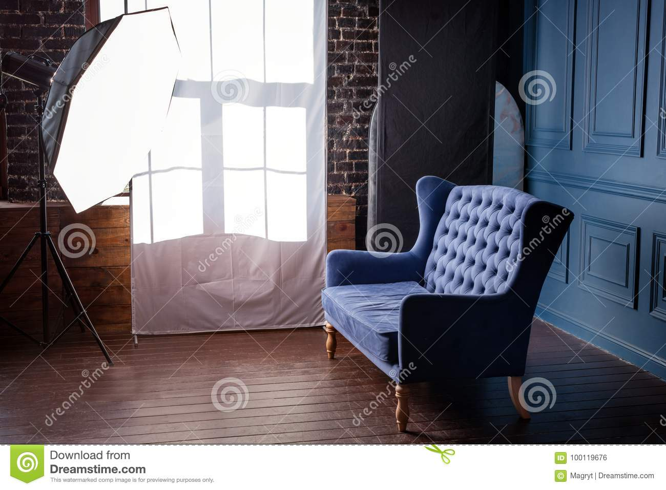 Antique Wood Sofa Couch In Vintage Room Classical Style Armchair In