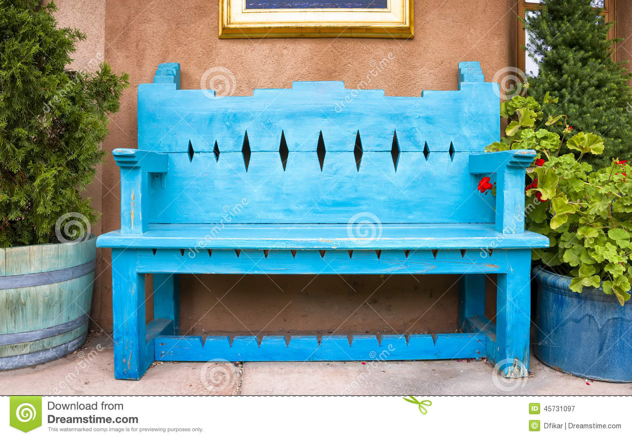 Antique Wooden Bench In Santa Fe Stock Image - Image: 45731097