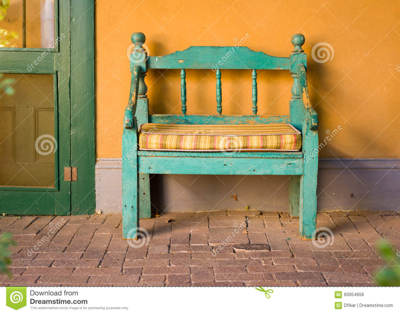 Wooden Bench Seats For Fans On Soccer Football Field Stock