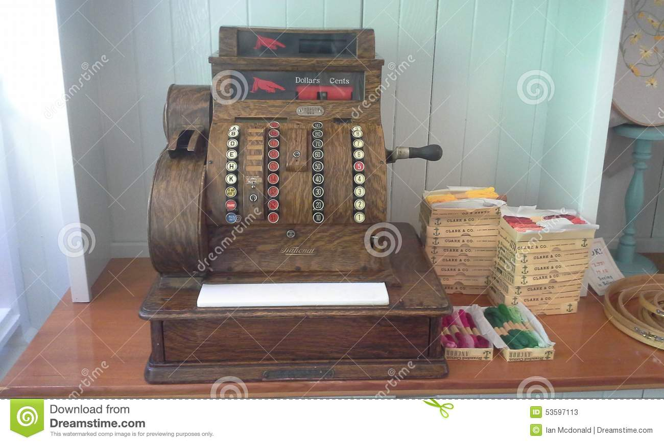 Antique Wooden Cash Register Editorial Stock Photo Image Of Cash