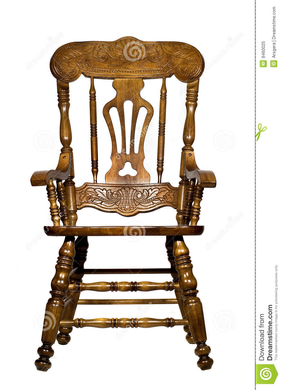 Wooden chair front view - Antique Chair Front Isolated View Wooden