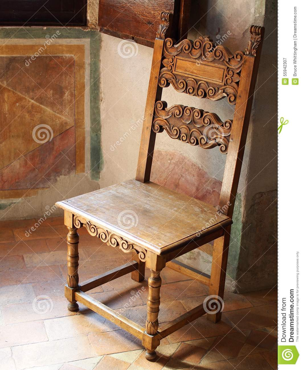 Antique wooden chair roman villa stock photo image for Chaise berceuse