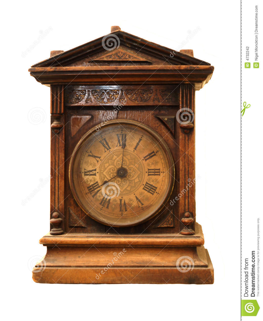 Antique Wooden Clock Stock Photography - Image: 4732242