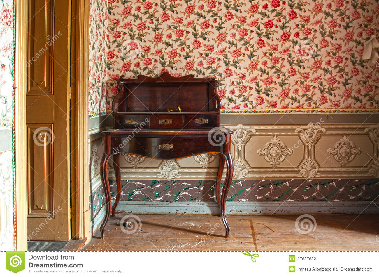 Antique Wooden Desk, Furniture, In Old House Stock Photo   Image Of Style,  Decor: 37637632