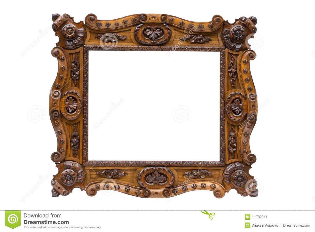 Vintage Wood Frame : Antique wooden frame, isolated on white background.