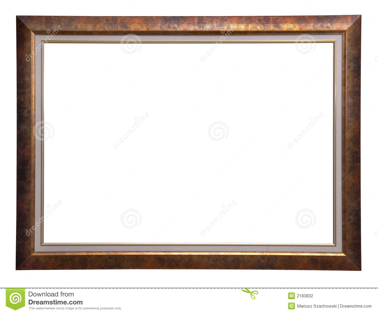 Antique golden wooden frame isolated on white background.
