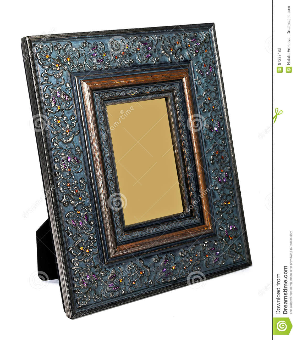 Antique wooden photo frame isolated on white background
