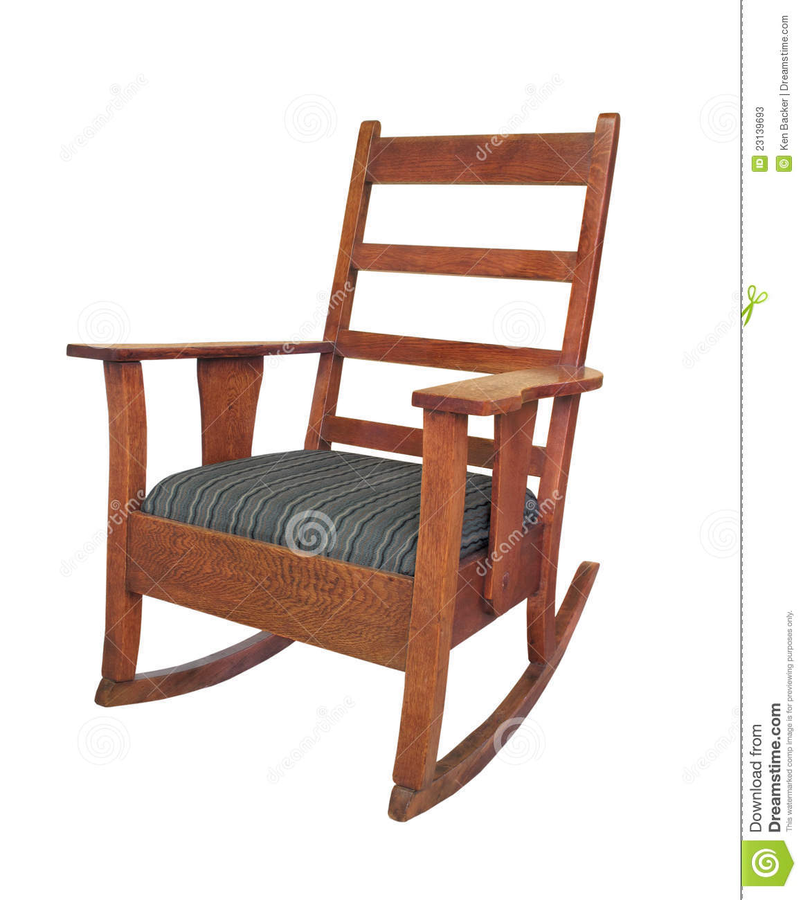 Antique Wooden Rocking Chair Isolated