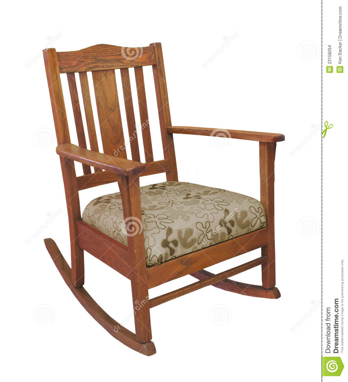 Antique Oak Mission Style Wooden Rocking Chair With Cushion. Isolated . Full resolution‎  portraiture, nominally Width 1184 Height 1300 pixels, portraiture with #86A724.