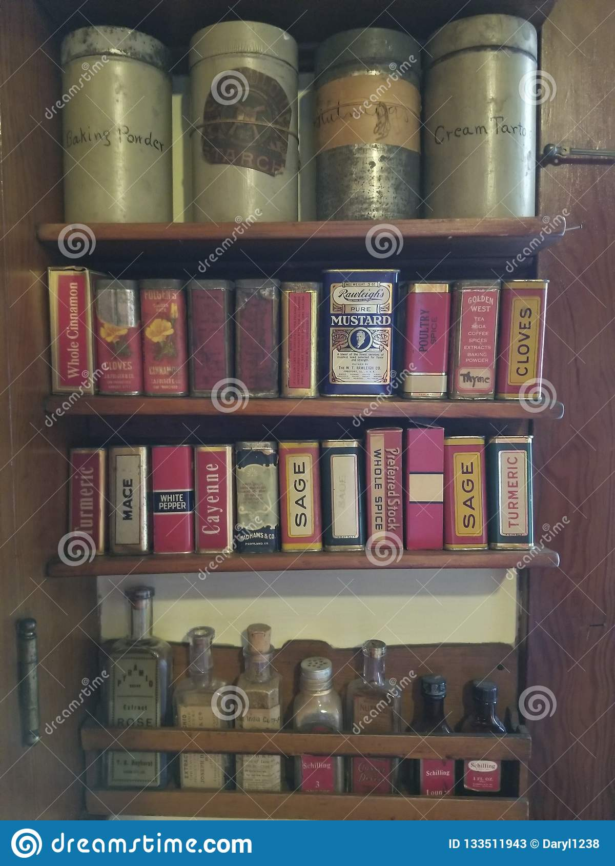 Antique Spices On Spice Rack Editorial Stock Photo Image Of