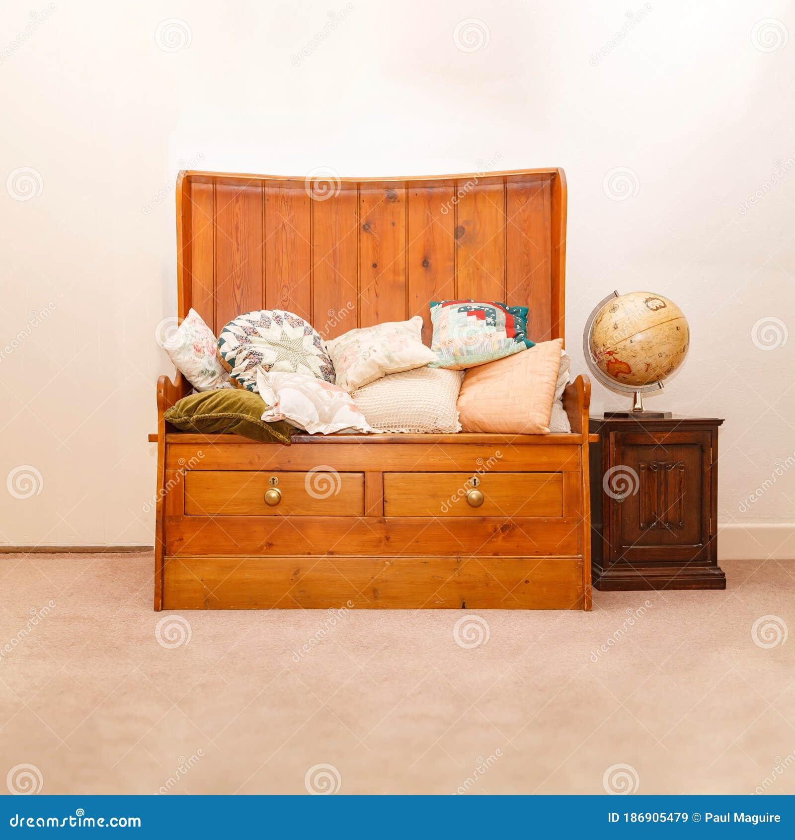 Antique Wooden Storage Bench Seat English Home Furnishing Stock Image Image Of Inside Furniture 186905479