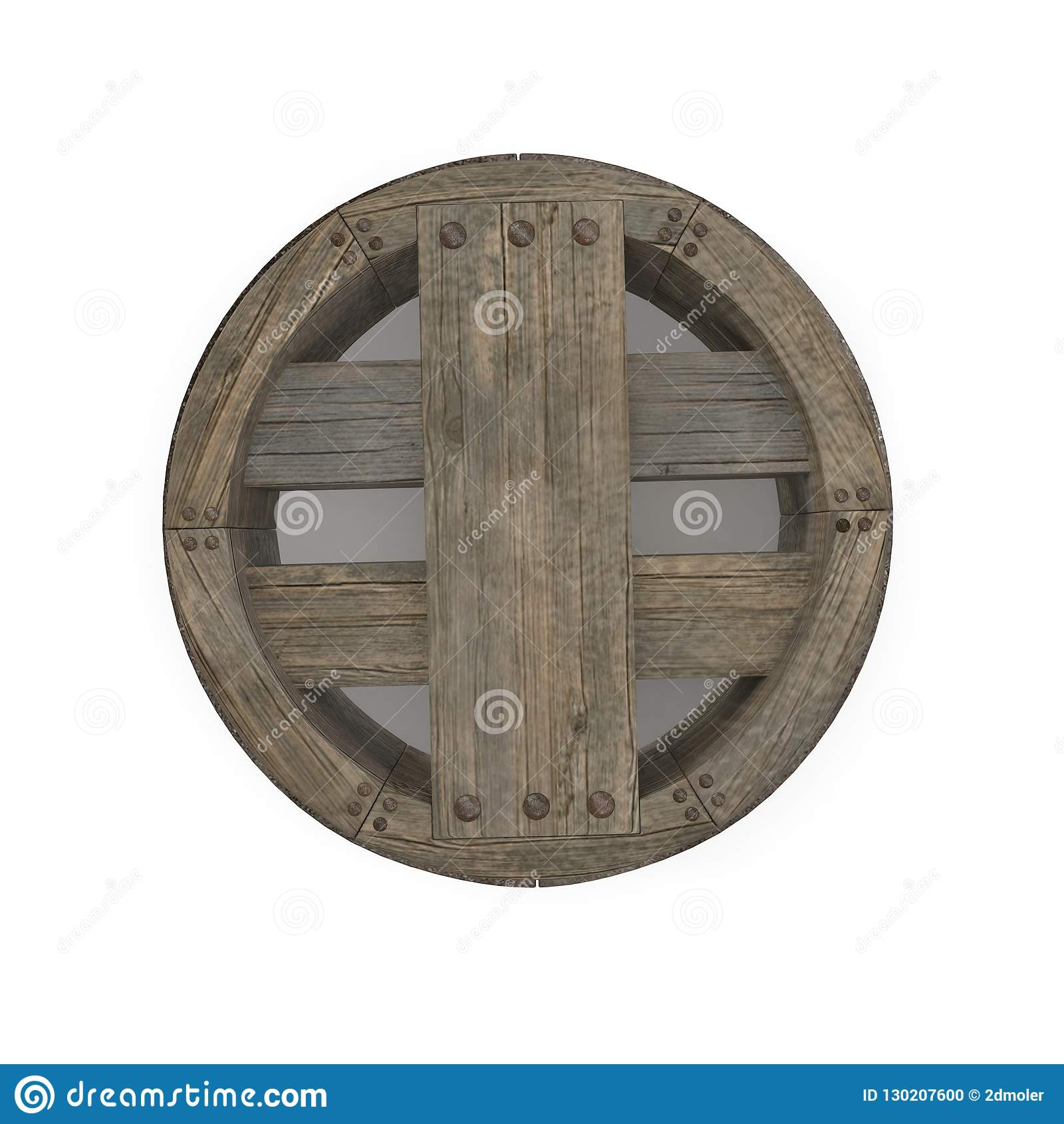 Antique Wooden Wheel On White Background. 3D Illustration, isolated