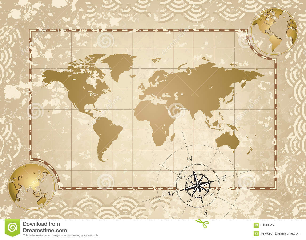 Antique world map stock vector illustration of global 6100625 antique world map gumiabroncs Gallery