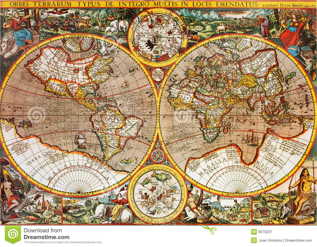Antique world map stock image image of mappa world medieval antique world map royalty free stock photo gumiabroncs Images