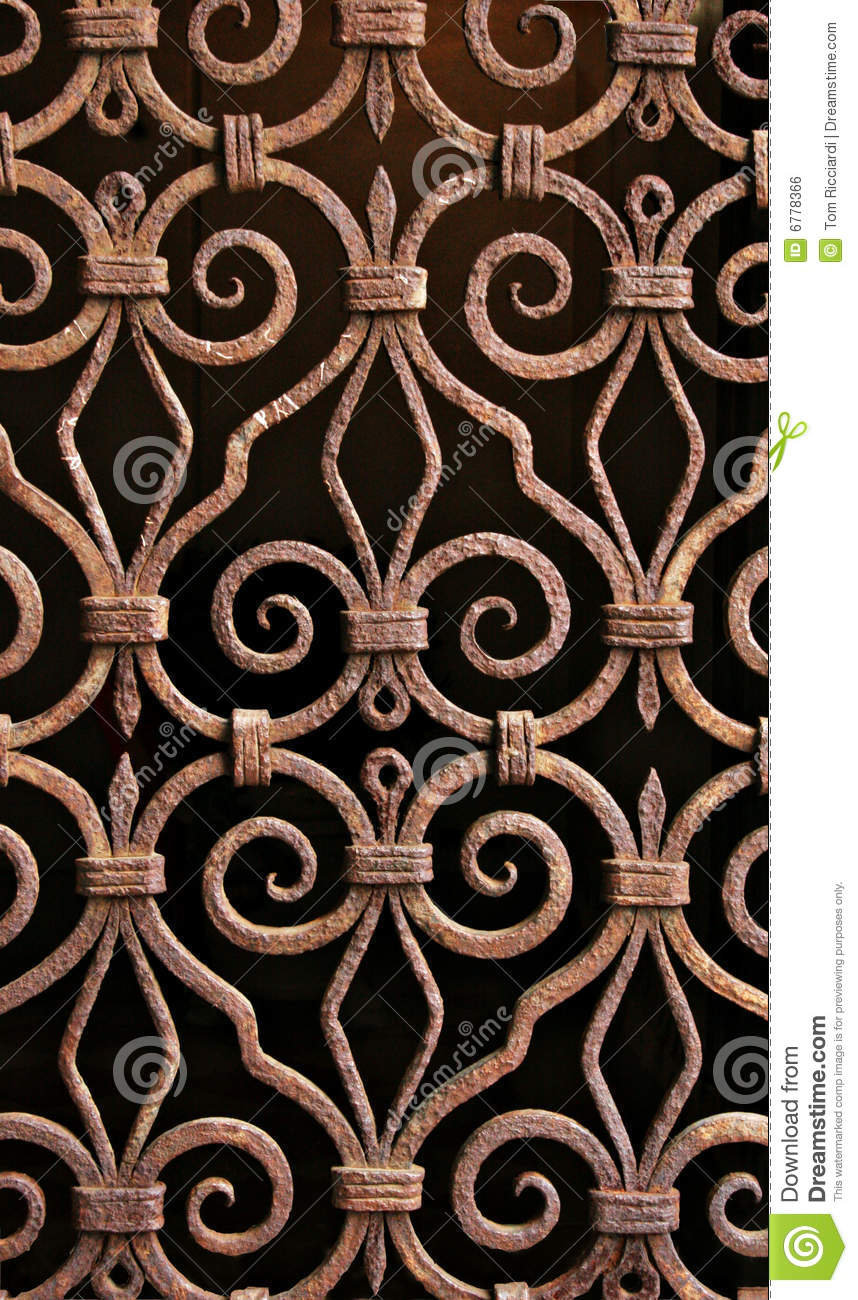 Antique Wrought Iron Pattern Grill Venice Royalty Free