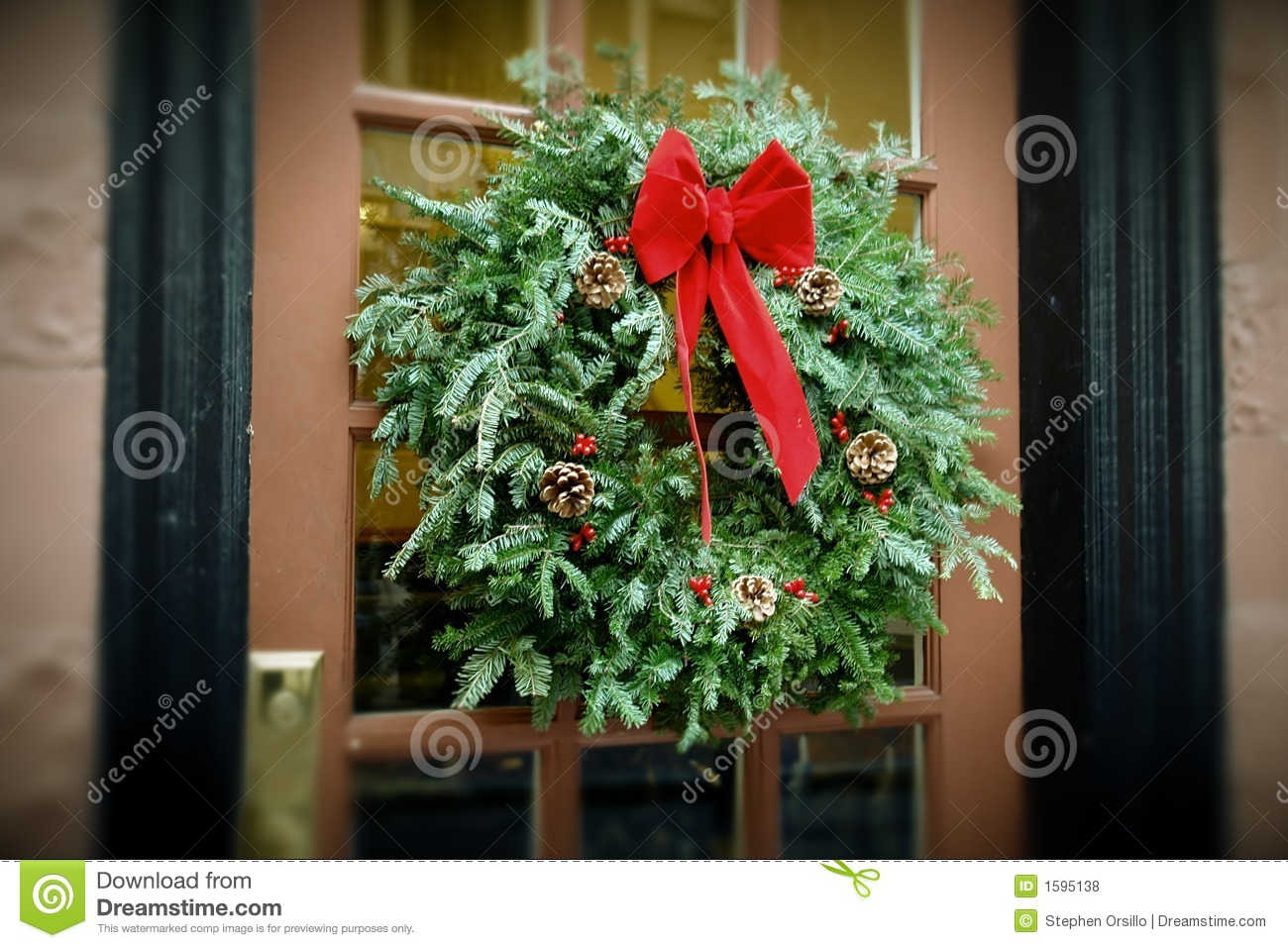 Antiqued Christmas Wreath Hanging On Door Stock Photo Image 1595138