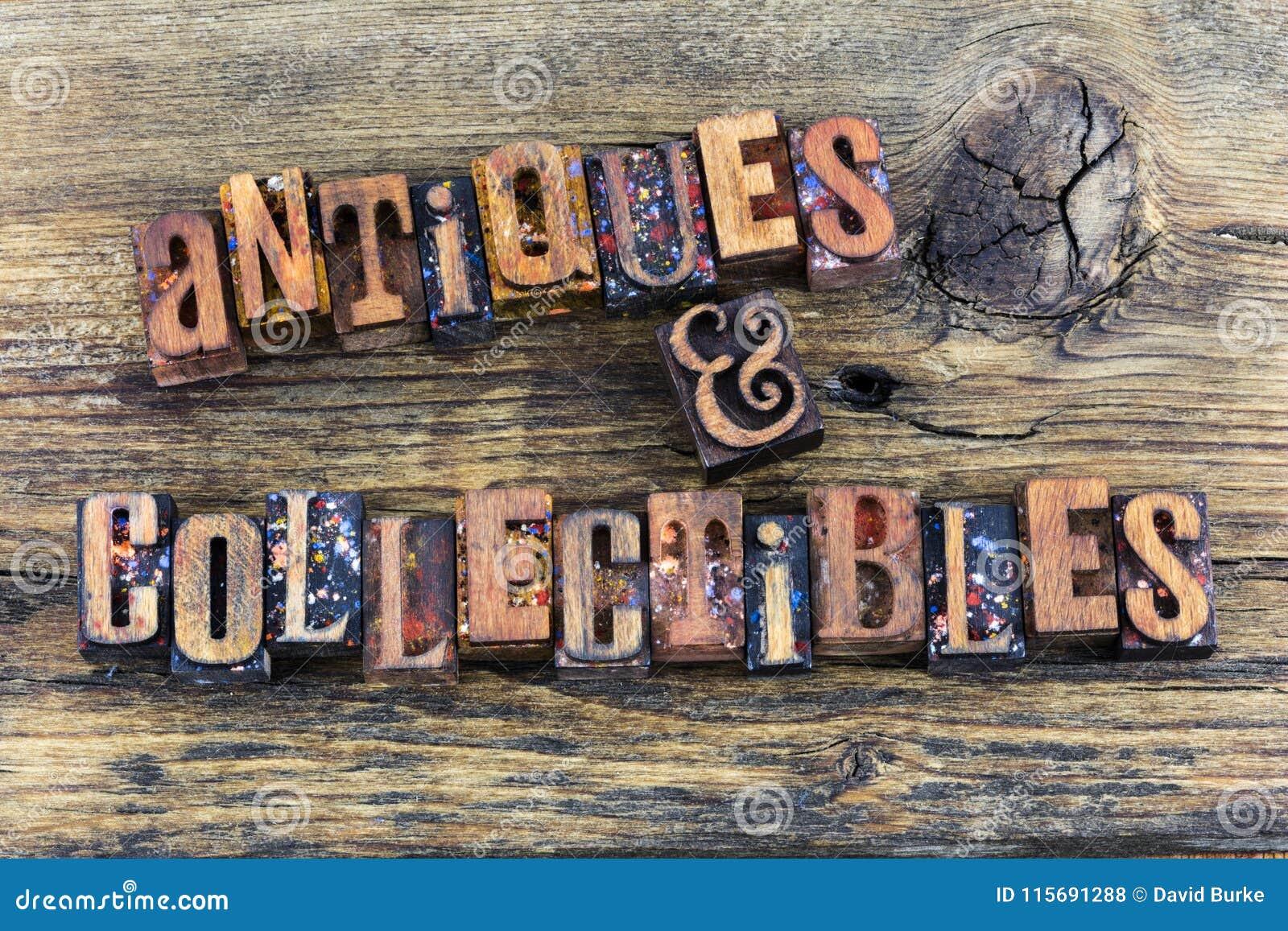 Antiques collectibles sign letterpress